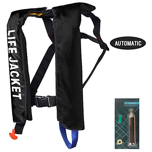 MOCOTONO Inflatable Life Jacket, Automatic/Manual Inflatable PFD Life Vest for Adults,Auto Black