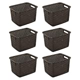 Sterilite 12736 Tall Wicker Weave Plastic Laundry Storage Basket, Brown (6 Pack) wicker Feb, 2021