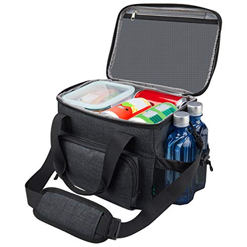 Lunch Box for Men, 18 cans Large Leak-proof Insulated Big Lunch Box, Lunchbox Adult Men with Shoulder Strap and Side Pocket for Work and Outdoor…