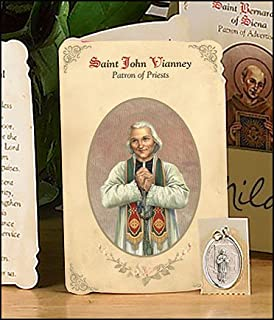 Blessed By Pope Francis St Saint John Vianney Prayer Booklet with Medal