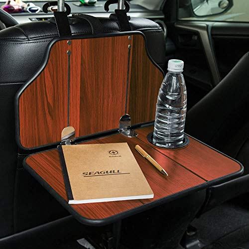 Mr.Ho Multi-Functional Car Table Car Back Seat Folding Table Wooden Portable Foldable Table Vehicle Seat Back Table Tray, Laptop Notebook Deck, Food Desk and Cup Holder(Red)
