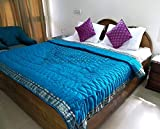 Silk Throw Blanket, Blue Quilted Throw, Quilted Comforter, Queen bedframe, FREE SHIPPING