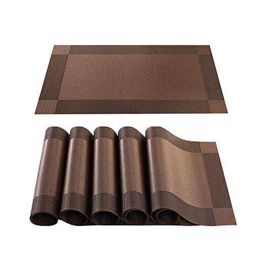 Tischset, 6 Stück Tischsets rutschfest, Abwaschbar PVC Platzset, für Küche Hitzebeständige Platzdeckchen, Braun