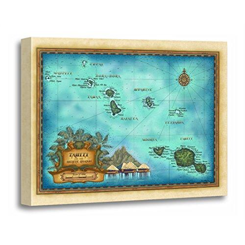 TORASS Canvas Wall Art Print French Tahiti Map Polynesia Exotic Adventure Artwork for Home Decor 12' x 16'