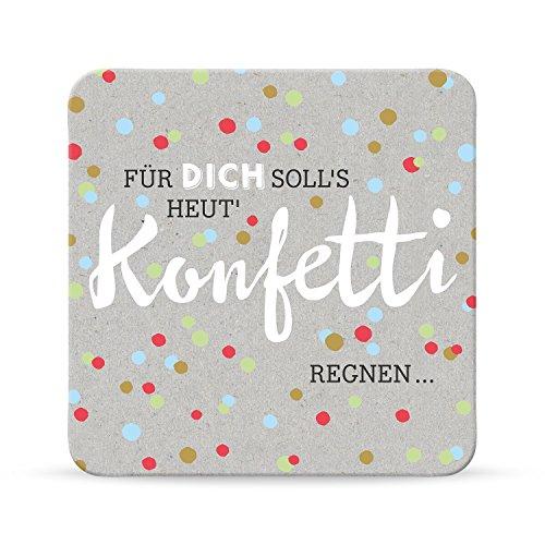Sheepworld, Happy Life - 44580 - Untersetzer Nr. A6, Für Dich soll´s heut´ Konfetti regnen..., Kork, 9,5cm x 9,5cm
