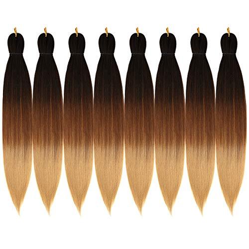 "8 Pcs Pre-Stretched Braiding Hair 26"" Braids Professional Yaki Synthetic Hair for Crochet Twist Black Brown Light Brown (26"", 1B/30/27)"