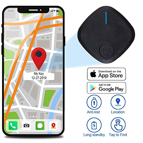 Smart Tracker Bluetooth Key-Finder Wireless Device Locator for Phone Wallet Bag Used Kids-GPS-Tracker (1 Pack, Black)