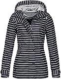 Top Fuel Fashion Damen gestreifte Regenjacke Anny wasserabweisender Kapuzenparka Navy/Offwhite L