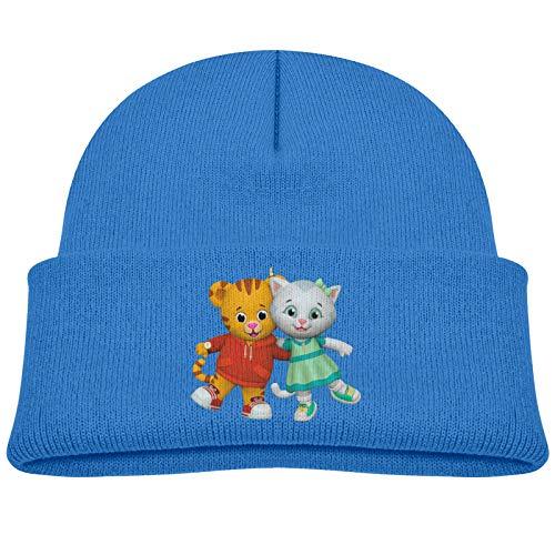 Kids Winter Da-Niel Tiger's Knitted Hats Beanie Skull Cap for Boys Girls Blue