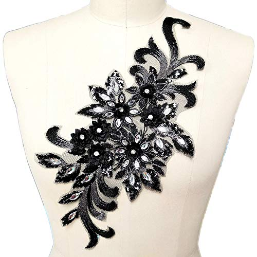 7.5x15 in 3D Colorful Flower Mesh Embroidered Rhinestone Lace Beaded Applique with Sequins DIY Lace Fabric Trim for Clothes Accessories Hardware (Black)
