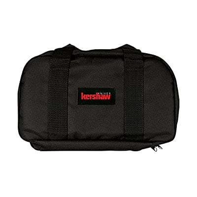 Kershaw Knife Storage Bag (Z997); 13 x 7.5 in. Case with Black Nylon Siding, Black Nylon Straps, 8-Pocket Removable Center Section, Red Logo Embossed Patch and 18 Folding Knife Capacity; 12 oz