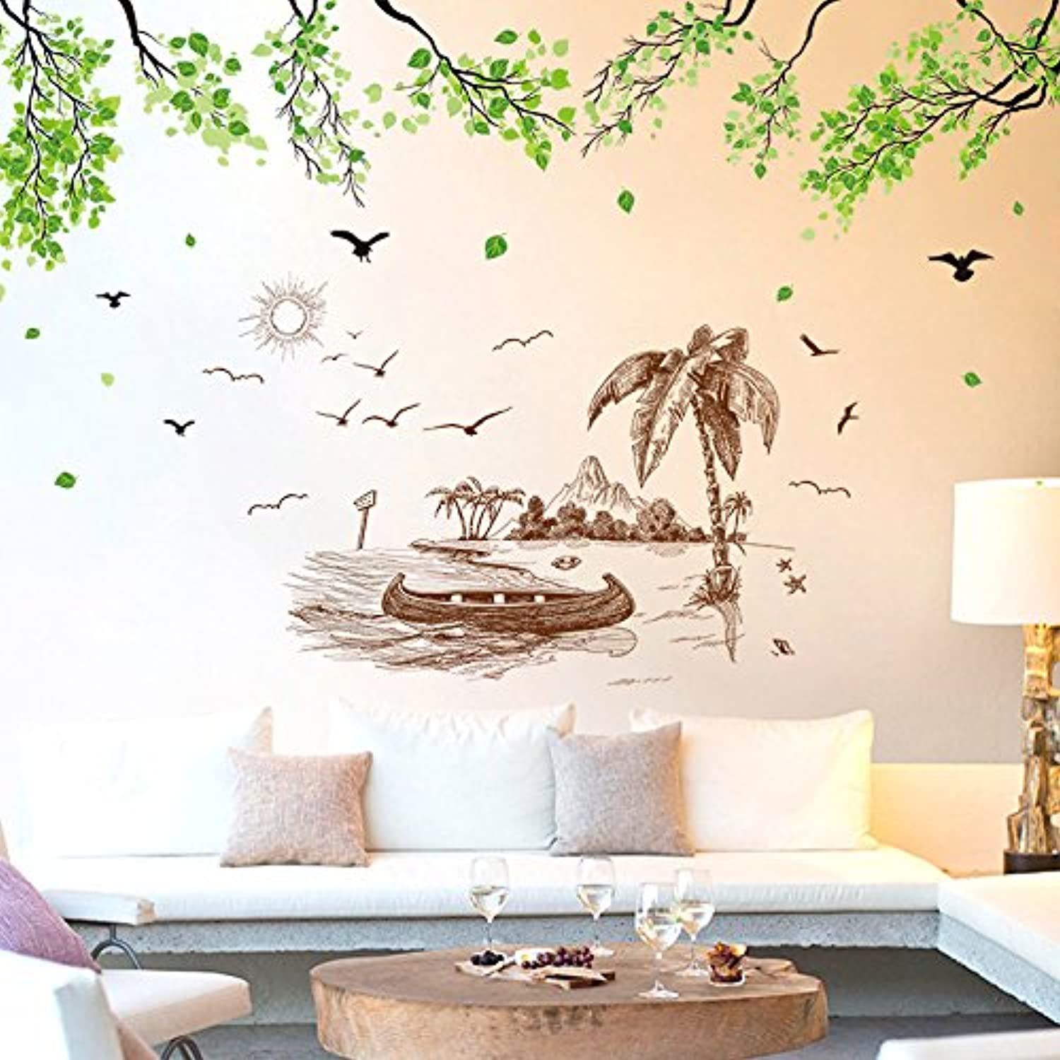 Znzbzt Wall Paper SelfAdhesive Wall Art Wall Sticker Art Room Wall Decoration Wallpaper, Green Trees