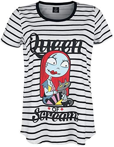 Pesadilla Antes De Navidad Queen of Screams Mujer Camiseta Blanco-Negro XL, 100% algodón, Ancho