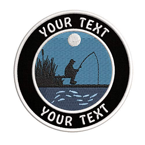 Custom Fisherman Fishing Your Text Embroidered Premium Patch DIY Iron-on or Sew-on Decorative Badge Emblem Vacation Souvenir Travel Gear Clothes Appliques