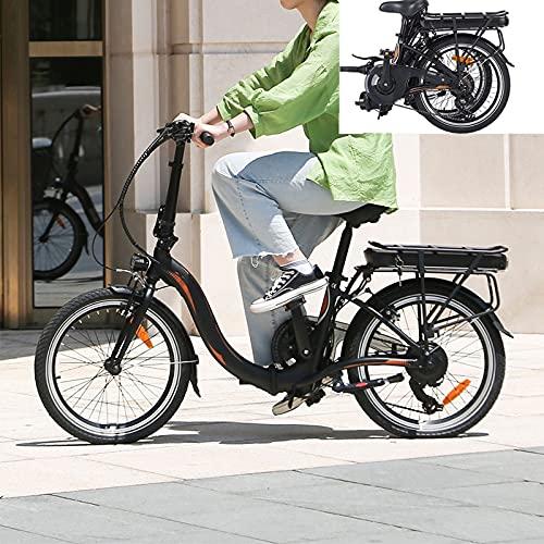 Bicicleta electrica Plegable Conduce a una Velocidad máxima de 25 km/h. Bicicletas Capacidad de la batería de Iones de Litio (AH) 10AH Bici electrica Tamaño de neumático 20 Pulgadas, Negro