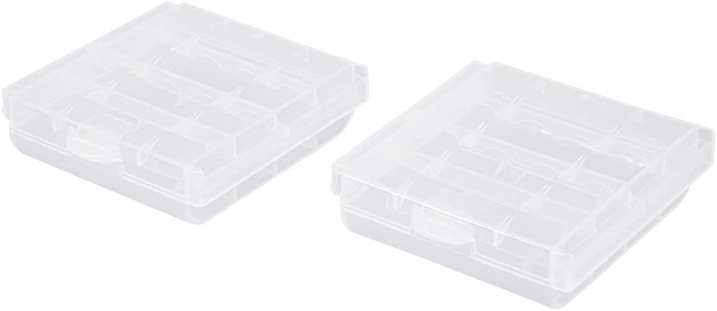 uxcell 2pcs AAA/AA 4 Cell Batteries Holder Portable Battery Storage Case Protective Container Clear