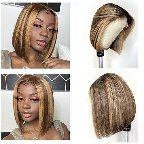 """Blonde Balayage T Part Lace Front Wig Human Hair Wigs Medium Brown and Strawberry Highlights Soft Straight Brazilian Virgin Hair Glueless Ombre Bob Wigs for White Women 14"""" 150% Density"""