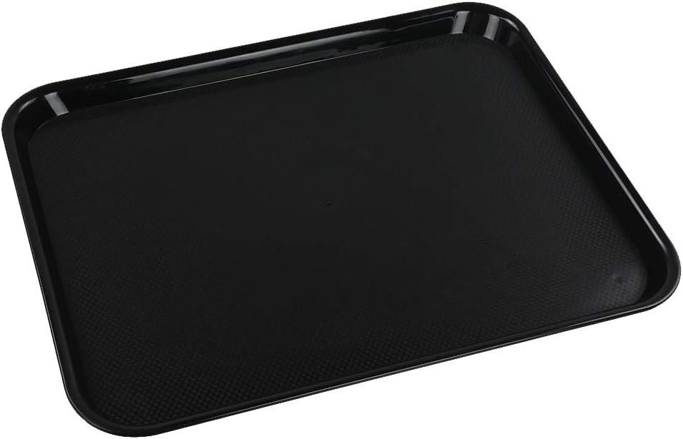 Ramddy Luxury goods Regular discount Black Serving Trays Plastic of 4 Food Set Fast