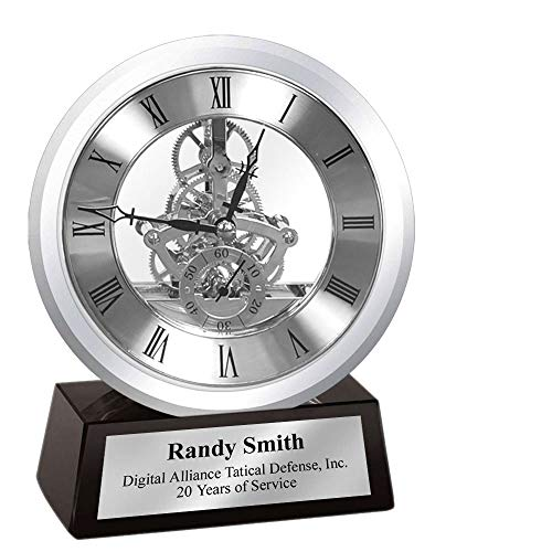 Engrave Desk Clock Silver Home Office Dial Gear Encase in Glass Mounted on Black Crystal Silver Engraved Personalized Shelf Table Clock Award Retirement Recognition Service Promotion