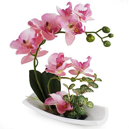 RENATUHOM Künstliche Orchidee in weißem Porzellantopf, künstliche Blumen und Pflanzen für Innendekoration, realistisch und lebensecht C-rosa-1