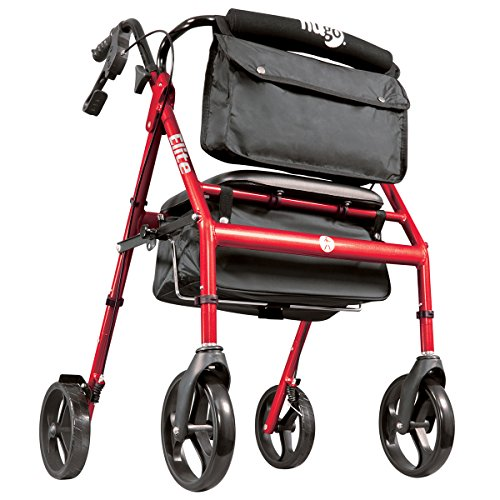 Hugo Mobility 700-961 Elite Rollator Walker with Seat, Backrest and Saddle Bag, Garnet Red