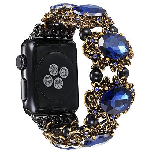 Fastgo for Apple Watch Band Women, Antique Retro Rhinestone Jewelry Style Iwatchbands For Series1, Series 2 (Blue Rhinestone - 42mm)