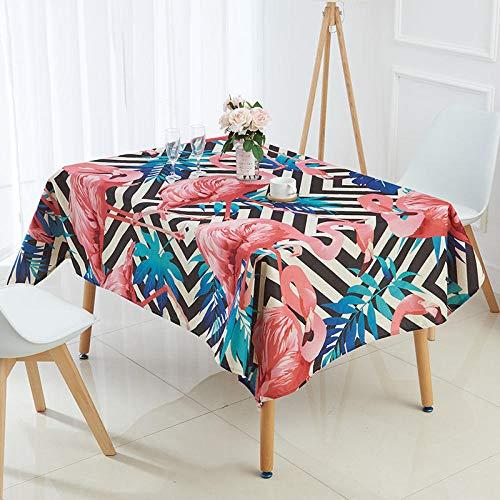Mantel Rectangular 137x200cm PVC Impermeable Antimanchas Durable Lavable Manteles Flamenco Nórdico Rosado Impresos Adecuado para Decorar Cocina Comedor Salón