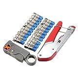 SeeKool Kit de Crimpador y Pelacable Coaxial Universal Coaxial Cable Alicates,...