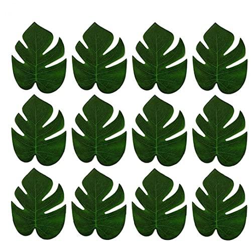 TOSSPER 12pcs Hojas Artificiales Falso Hojas Tropical Party Decor Selva Hawaiana Tema De Playa Decoración De Fiesta De Cumpleaños, Boda, Baile, Eventos