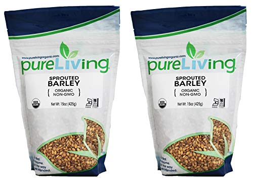 PureLiving Organic Sprouted Barley - Whole Grain - 15 Ounce Bag (Pack of 2) - ONE OF THE MOST NUTRITIOUS GRAINS ON EARTH!