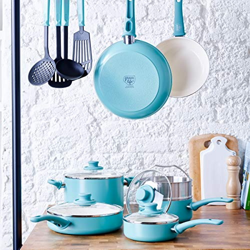 GreenLife Soft Grip 15 Piece Ceramic Non-Stick Induction Cookware Set, Turquoise