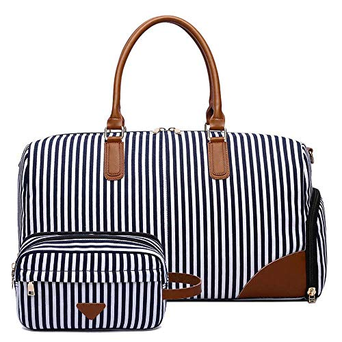 Neuleben 2 Set Reisetasche & Kulturtasche aus Canvas Leder Unisex Streifen Weekender Tasche Kulturbeutel Groß Reisetasche mit Schuhfach Laptopfach (2 Teile A)