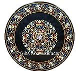 Mesa de comedor redonda de mármol negro con Pietra Dura Art Amazing Sofa Table de Indian Cottage Art and Crafts de 48 pulgadas