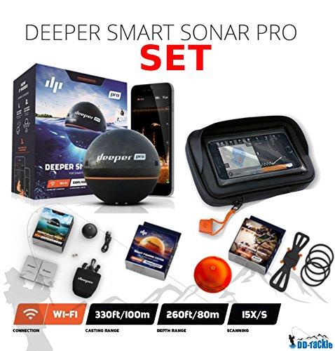 Deeper Smart Sonar Pro Set WiFi + Smartphone Halterung + Night Fishing Cover + Case