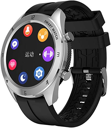 ZHENAO Smart Watch 1.28 Pulgadas Pantalla Redonda Pantalla Dinámica Ip68 Inforión Impermeable Recordatorio Pulsera Deportiva Desgaste diario/Plata