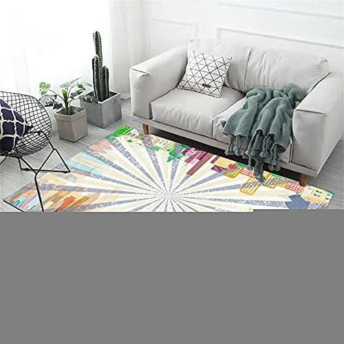 RUGMYW Revêtement De Sol Stratifié Tapis Chambre High School House Impression Beige Gris Jaune Orange Vert Vert Tapis Jardin Extérieur 160X200cm