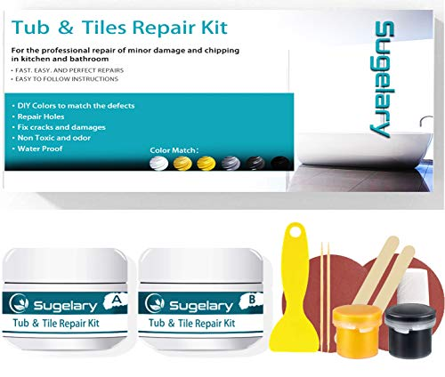 Tub, Tile and Shower Repair Kit (Color Match), Fiberglass Repair Kit, Porcelain Repair Kit for Tubs, Ceramic Toilet Fiberglass Stone Chips Scraps Drill Holes Repair Tub and Tile Refinishing Set