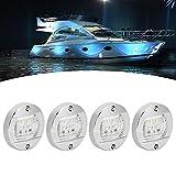 Señales LED Luz de navegación Redonda Luz de popa Cromo Impermeable para Barco Yacht Tru 4Pcs