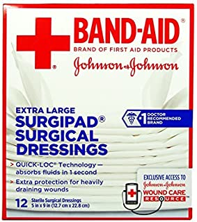 Johnson & Johnson Red Cross Surgipad Surgical Dressings, 5 Inch x 9 Inch, 12 Count by Johnson & Johnson Red Cross