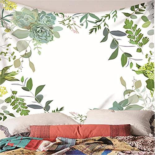 Weibing Tapiz de impresión en Color 3D Estilo Simple Hoja Verde Hermoso patrón Tapiz para la decoración del Dormitorio de la Sala de Estar 180(An) x200(H) cm