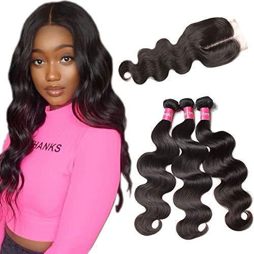 Longqi Hair 3 Bundles with Closure Brazilian Body Wave Hair Middle Part Closure 4x4 Virgin Human Weave Natural Black Color 10 12 14+10