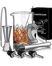 SUPERSUN 9 Piezas Cócteles Kit, Coctelera Profesional para Cócteles de Vidrio 500ml, Utensilios de Bar con Jigger, Colador, Boquillas, Muddler