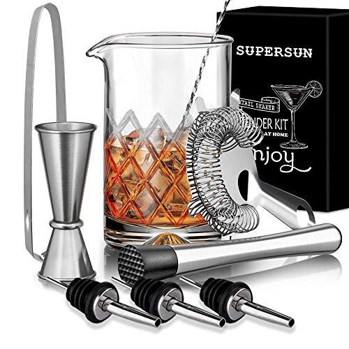 Supersun - Set di 9 bicchieri da miscelazione per cocktail, cocktail Mix con 500 ml in vetro senza piombo, colino, muddler, 3 beccucci, cucchiai, jigger, pinza per ghiaccio