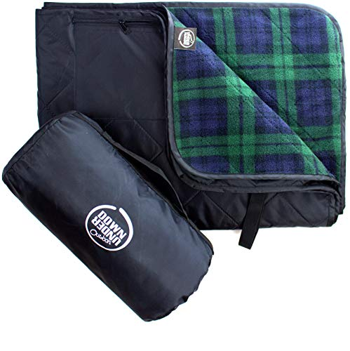 DOWN UNDER OUTDOORS Large Waterproof Windproof Extra Thick Quilted Fleece Stadium Blanket, Machine Washable Camping Picnic & Outdoor, Beach, Dog, 82 x 55 (Green Check) Festival Baseball Folding Rug