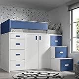 Meubles ROS Lit Mezzanine avec Armoire et tiroirs -165x204x165 cm (Blanc/Bleu,...