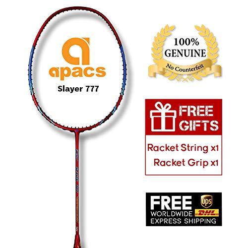 Apacs Slayer 777 (5UG1) High Modulus Carbon Smashing Badminton Racket, 35lbs Max Tension, Free String and Nano Tribal Tattoo Grip,