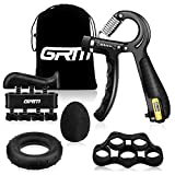 GRM Hand Grip Strengthener Counting Forearm Trainer Workout Kit, 11-132Lbs Adjustable Resistance...