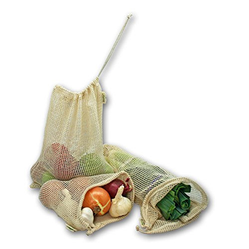 Simple Ecology Reusable Produce Shopping and Storage Bags, Drawstring, Washable Organic Cotton Mesh, Set of 6 with 2 ea. XL, L, M