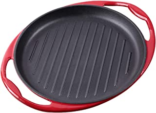 LI-GELISI Enameled Pre-Seasoned Cast Iron Double Handle Grill Pan (9.8 inch, Red)