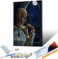 DIYペイント番号キット アフリカの女の子のポーター 子供 大人 DIY キャンバスペインティング 数字 アクリル絵画 アークラフト ホームウォールデコレーション 30x45cm DIYフレーム